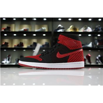 Men's and Women's Air Jordan 1 Retro High Flyknit Banned Black/Varsity Red-White 919704-001
