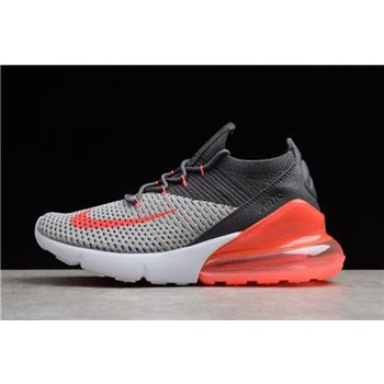 Mens and WMNS Nike Air Max 270 Flyknit Black Grey Orange White AO1023-202