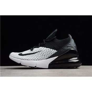 Men's and Women's Nike Air Max 270 Flyknit White/Black Running Shoes
