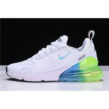 Mens and WMNS Nike Air Max 270 White/Blue-Green Running Shoes AH6789-130
