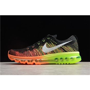Nike Flyknit Max Black/Sail-Atomic Orange-Volt Running Shoes 620469-018 Free Shipping